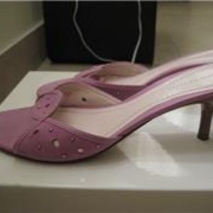 ANN TAYLOR Leather & Suede Heels Sandals Pink 6.5M